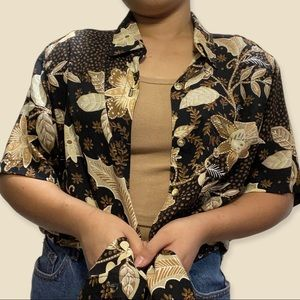 Alfred Dunner: Brown Short Sleeve Button Up Blouse with Shoulder Pads